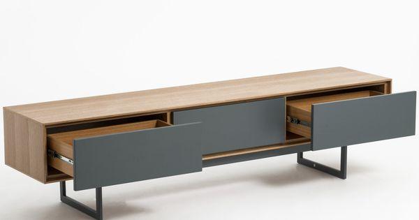 Meuble Tv Design Valeo Chene Et Gris 180 Cm Tiroirs Systeme Push Pull Meuble Tv Design Meuble Tv Meuble Fin