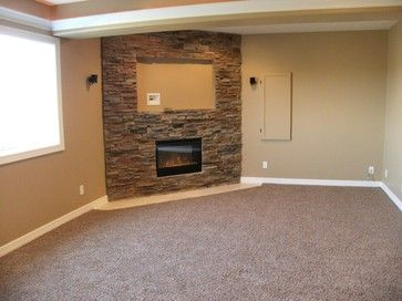 Stone Fireplace Basement Design Ideas Pictures Remodel And Decor Corner Stone Fireplace Corner Gas Fireplace Fireplace Design