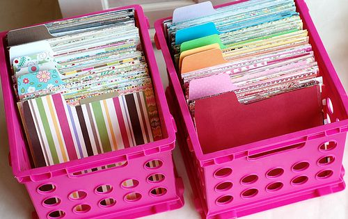 Great paper scrap storage solution and possible construction paper storage