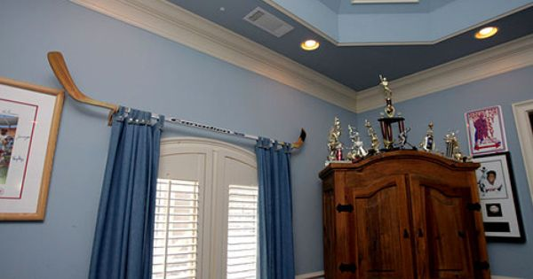 Hardware 2 Hockey Stick Used As A Traverse Rod Cool Curtains Curtains Old World Style