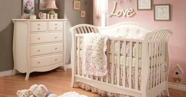 Baby Kinderzimmer Ideen Mädchen rosa graue Wand ...