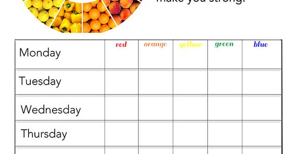 It is a picture of Superb Printable Rainbow Food Chart