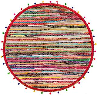 Round Pom Pom Recycled Rag Rug 90cm Cotton Rag Rugs Rugs Home Furnishings Namaste Fair Trade Namaste Uk Ltd Rag Rug Cotton Rag Rug Recycled Rugs