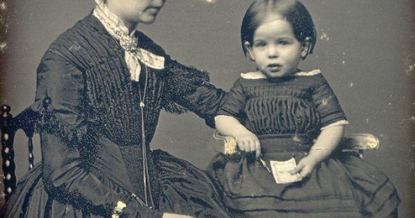 Victorian Mother Girl In High Chair Daguerreotype Closeup