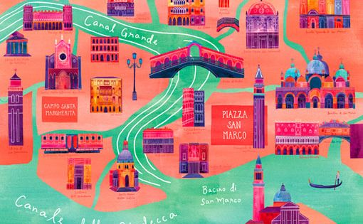 "Marisa Seguin- Customized Illustrated Venice Map, 24"" x 30"", Digital Print. $250.00,"