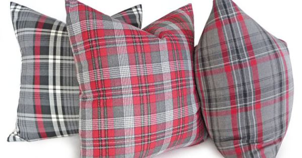 Red And Grey Tartan Plaid Throw Pillows For Seasonal