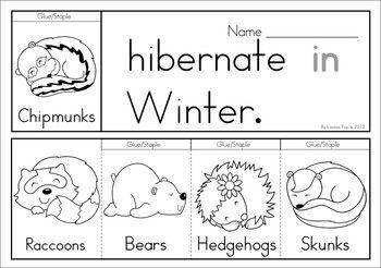 Winter Sight Word Fluency Flip Books Animals That Hibernate