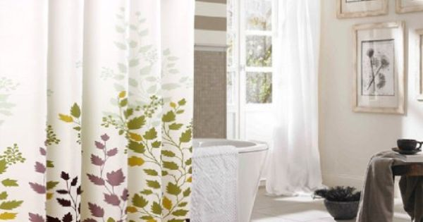 Hookless Extra Long Shower Curtain Tree Leaves Shower