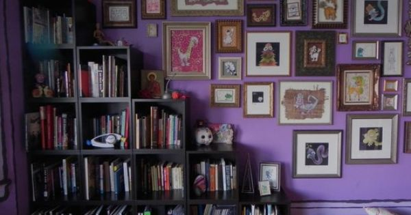 cute purple room and cool square bookshelves