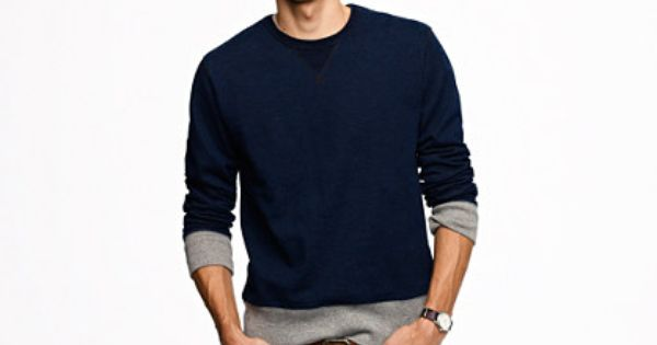 Wallace & Barnes indigo sweatshirt   Mens outfits, Long