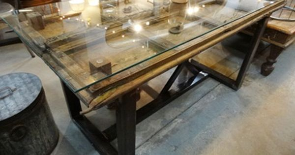 Antique Door Dining Table With Glass Top And Metal Base Glass