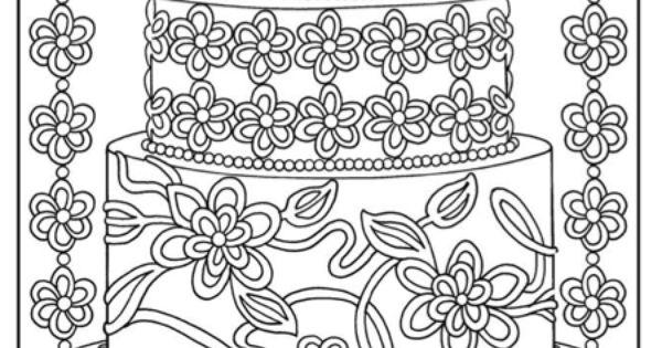 Kleurplaten Nl Verjaardag Moeilijke Kleurplaat Mooie Taart Kleurboek Pinterest