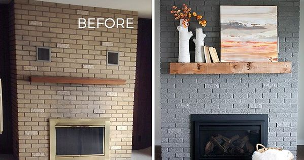 '70s Fixer Upper Brick Fireplace Makeover - Before and ...