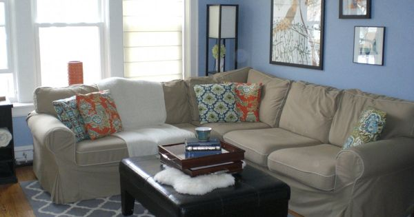 Sky Blue And White Themed Navy Living Room Ideas With Modular Gray Fabric Sof