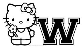 Personalized Coloring Page Initial Letter Hello Kitty Hello Kitty Coloring Kitty Coloring Hello Kitty