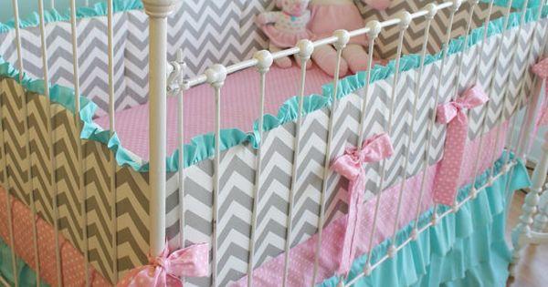 candy chevron crib set for girl! so cute $425.00