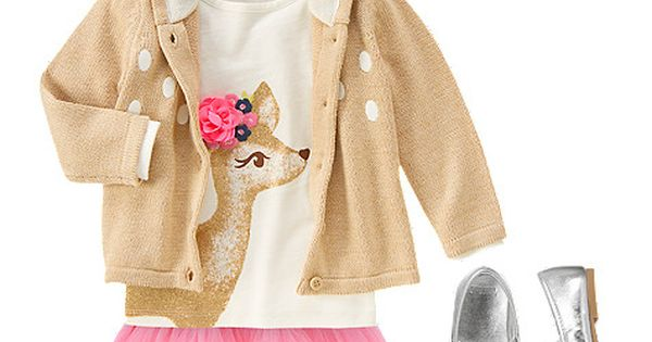 Oh deer. Gymboree Prancing Fawn Baby Girls Sweater, Deer Shirt, and Tulle