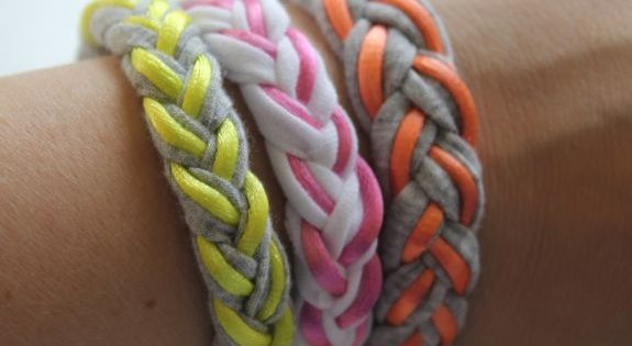 Camp Craft Idea: Braided T-Shirt Bracelets using old t-shirts