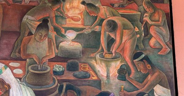Diego rivera mural showing aztec production of gold for Diego rivera aztec mural