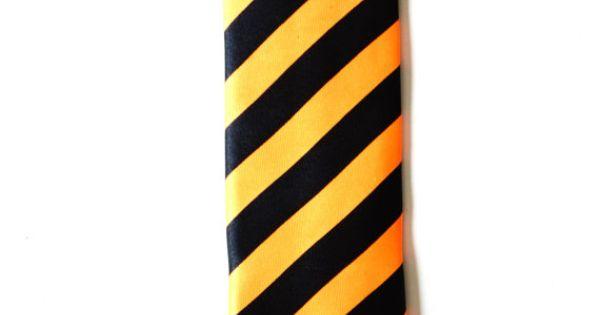 Mens Tie Black and Orange Stripe Modern Pattern by TiestheKnot, $8.99
