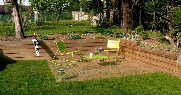 Jeux de niveaux terrasse bois r tention de terre for Caillebotis de jardin