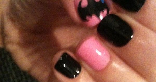 PINK BATMAN NAILS!!!