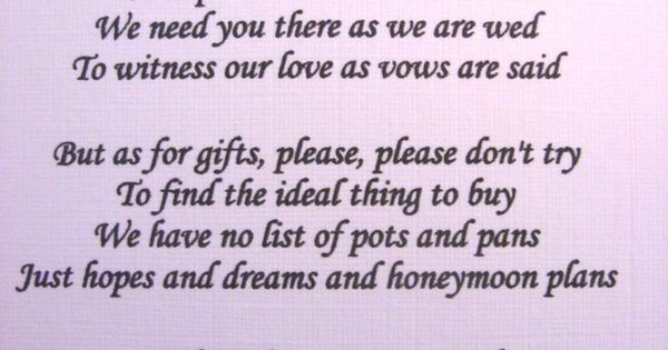 Wedding Gift Poem For Home Improvements : ... Wedding poems asking for money gifts not presents Ref No 4 wedding