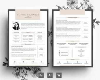 Resume Template Cv Template Business Card By Emilyartboutique Bewerbung Lebenslauf Kreative Lebenslaufvorlagen Lebenslauf Layout