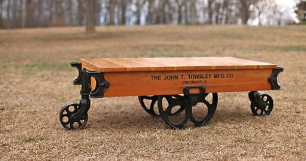 Antique Towsley Factory Cart Railroad Industrial Coffee