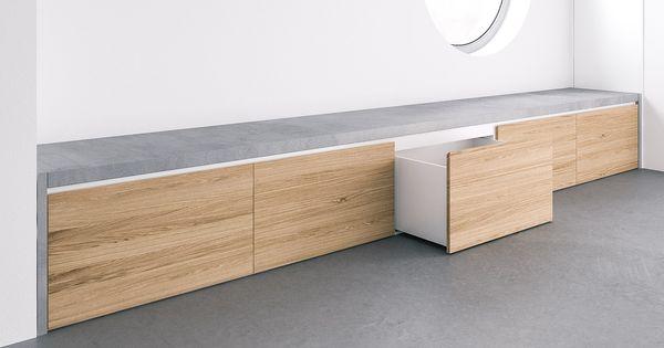 Beton Sitzbank Covo mit integriertem Stauraum für den Flur