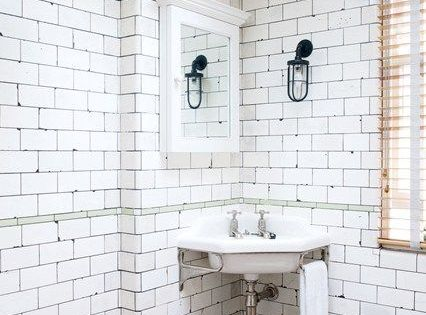 Keith Mcnally S Notting Hill Bathroom Industrial White Tile Bathrooms And Get The Look
