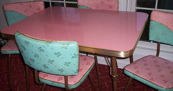Vintage kitchen formica table leaf 4 chairs turquoise - Mesas cocina vintage ...
