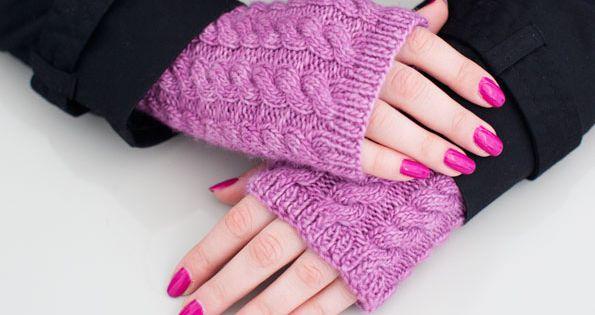 Easy Fingerless Gloves Knitting Pattern Straight Needles : cabled fingerless gloves knitting pattern, knit on straight needles / knitand...