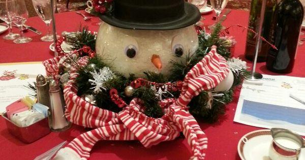 Snowman Centerpiece Holiday Fest Pinterest