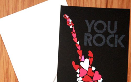You Rock Valentines card. Free printable card