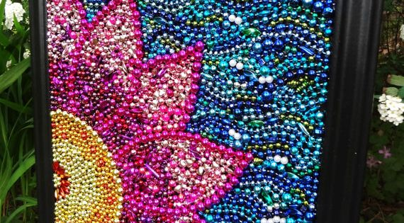 Recycled Mardi Gras Beads!! Original wall art Spring flower, pink and yellow,
