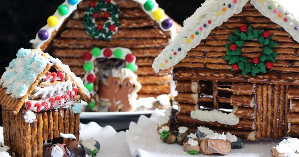 I'm still in the holiday spirit ...Decorated Pretzel Log Cabins