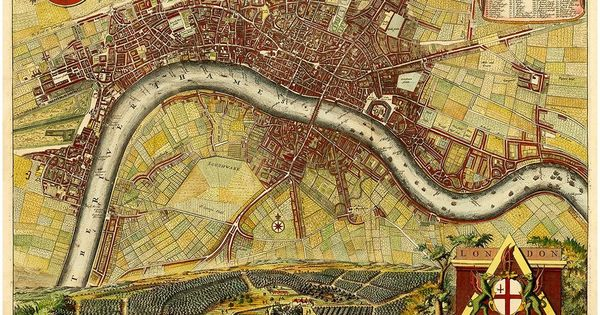 """Londini Angliæ Regni Metropolis"" is based on Hollar's 1675 map of London, which was copied and altered by De La Feuille in 1689, De Ram in 1689/90, and De Wit in 1690/93 to commemorate the Glorious Revolution of 1688."