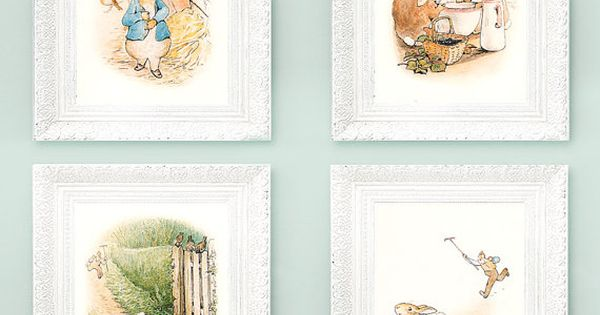 4 Vintage Peter Rabbit Prints. Beatrix Potter Prints. Fairytale Nursery Illustrations 3x4