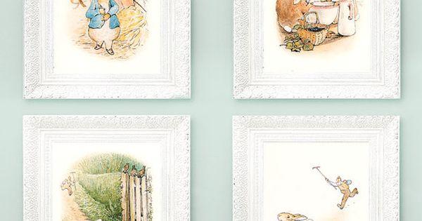 4 Vintage Peter Rabbit Prints. Beatrix Potter Prints. Fairytale Nursery Illustrations 3x4