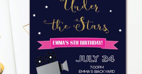 Movie Night Birthday Invitation - Under the Stars Outdoor Movie Party - Backyard Movie ...