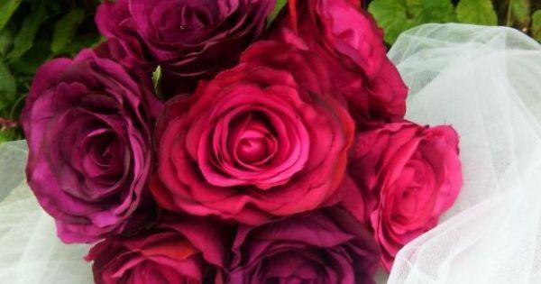 Bouquet de ROSES VINTAGE fleurs artificielles décoration ou mariage ...