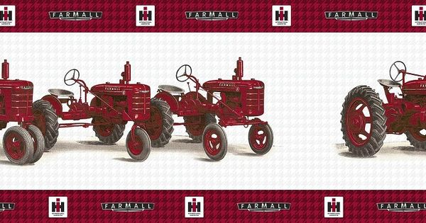 Vintage farmall tractor line up wallpaper border tractor - Farmall tractor wallpaper border ...