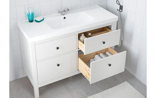 Hemnes odensvik skab til vask med 4 skuffer hvid for Miroir ikea hemnes
