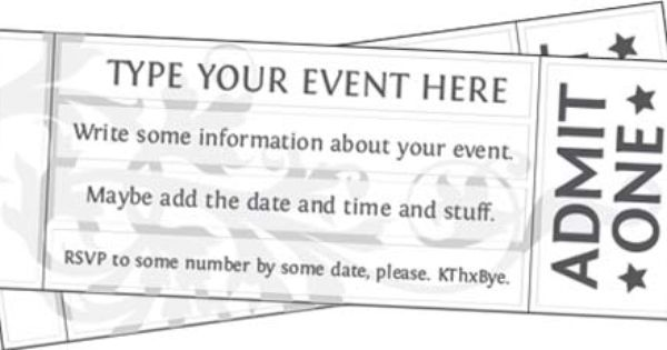 It's just a photo of Free Printable Event Tickets inside homemade ticket