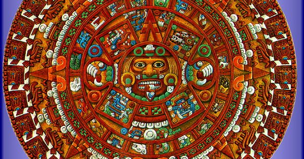 Aztec Calendar Art Lesson Plan : Aztec calendar a colored rendition of the sun stone or