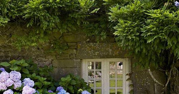 Beautiful doors, windows, stone and hydrangea's galore!