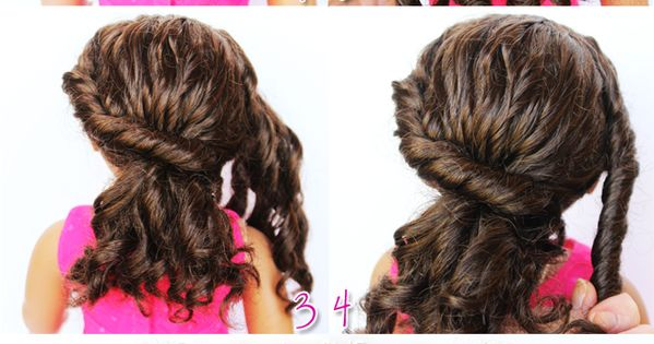 Twisted Ponytail For Curly Doll Hair.