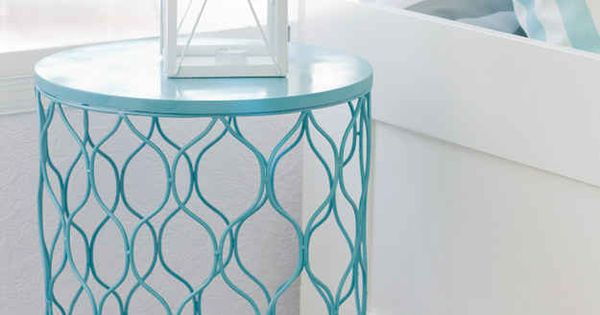 Mission: Find a cool wire trash can. Just spray paint trash can, flip, and you have yourself an instant side table!