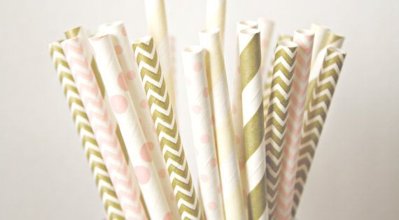 decorative straws for weddings blush pink champagne and gold paper straws blush and 3463
